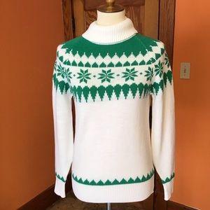 Vintage 70s bright fair Isle Snowflake sweater